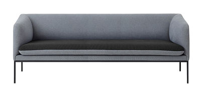 Furniture - Sofas - Turn Straight sofa - / L 200 cm - 3 seats by Ferm Living - Light grey / Dark grey - Cotton, Foam, Lacquered metal, Polyester