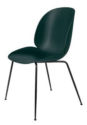 Möbel - Stühle  - Beetle Stuhl / Gamfratesi - Kunststoff - Gubi - Grün / Stuhlbeine schwarz - lackierter Stahl, Polypropylen