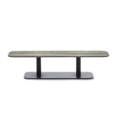 Mobilier - Tables basses - Table basse Kodo / 129 x 45 cm - Céramique - Vincent Sheppard - Céramique beige / Gris Fossile - Aluminium thermolaqué, Céramique