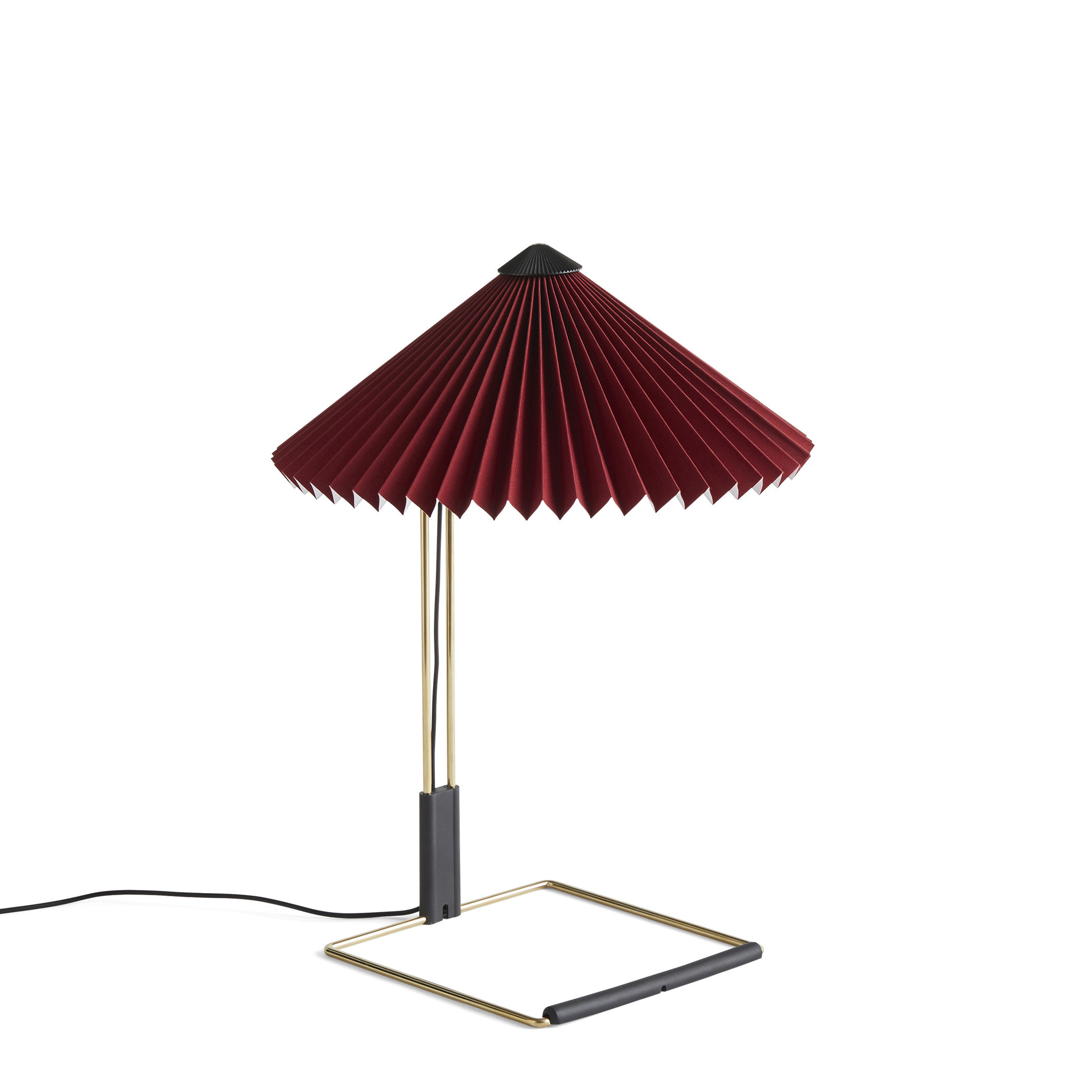 Lighting - Table Lamps - Matin Small Table lamp - / LED - H 38 cm - Fabric & metal by Hay - Oxide red / Polished brass - Acier finition laiton, Pleated cotton