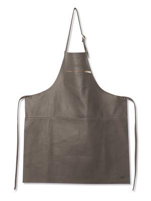 Tablier cuir / Poche zippée - Dutchdeluxes gris en cuir