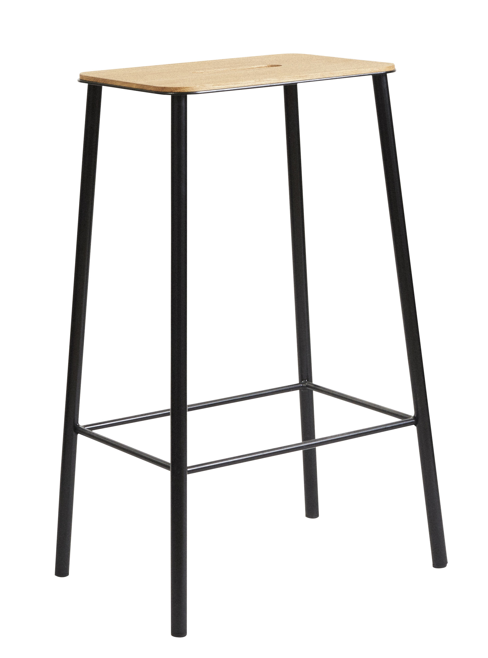 Mobilier - Tabourets de bar - Tabouret haut Adam / H 65 cm - Indoor - Frama  - H 65 cm / Chêne & noir - Acier laqué époxy, Chêne huilé