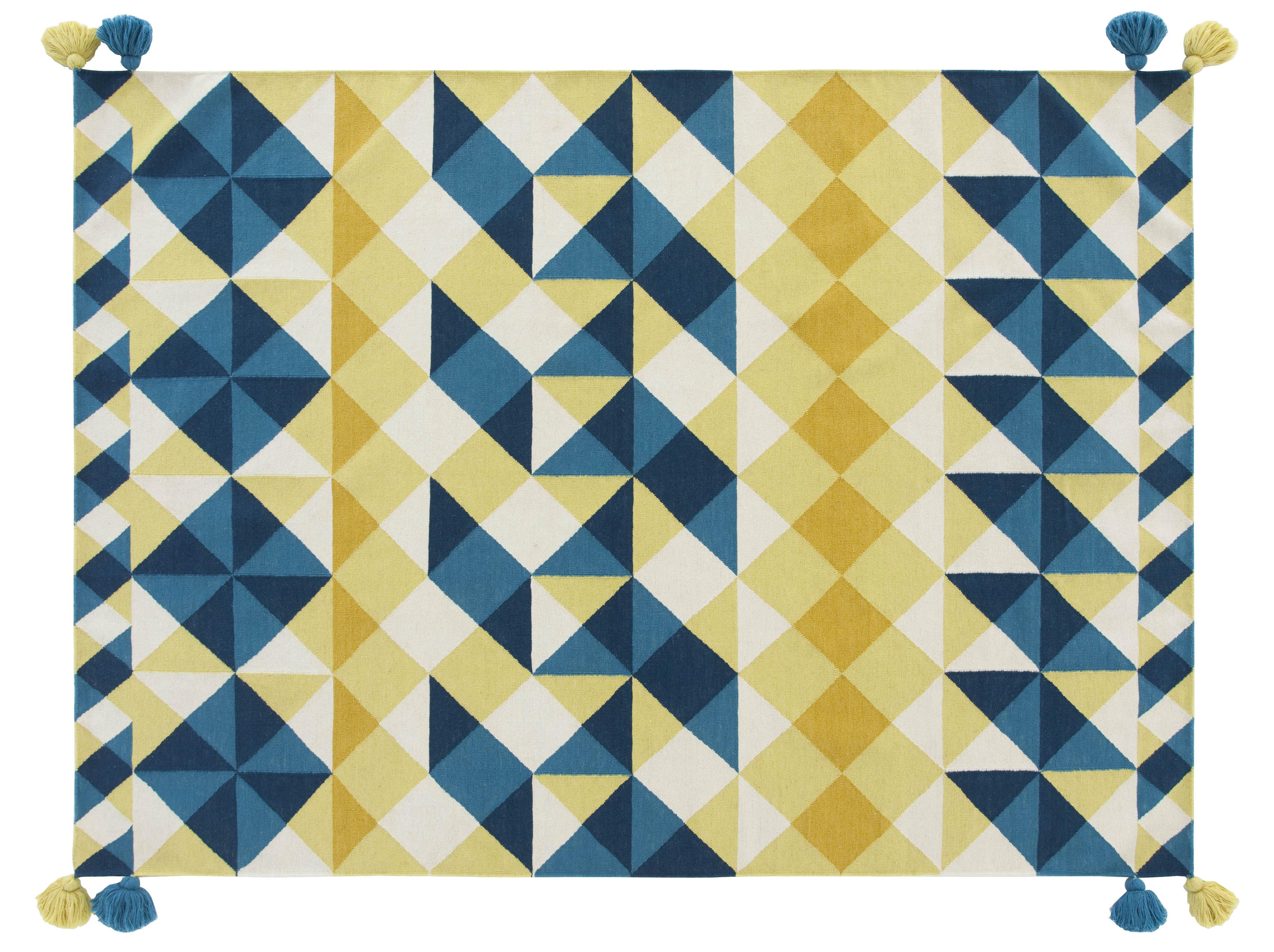 Déco - Tapis - Tapis Kilim Mosaïek / 240 x 170 cm - Gan - Jaune & bleu - Laine vierge
