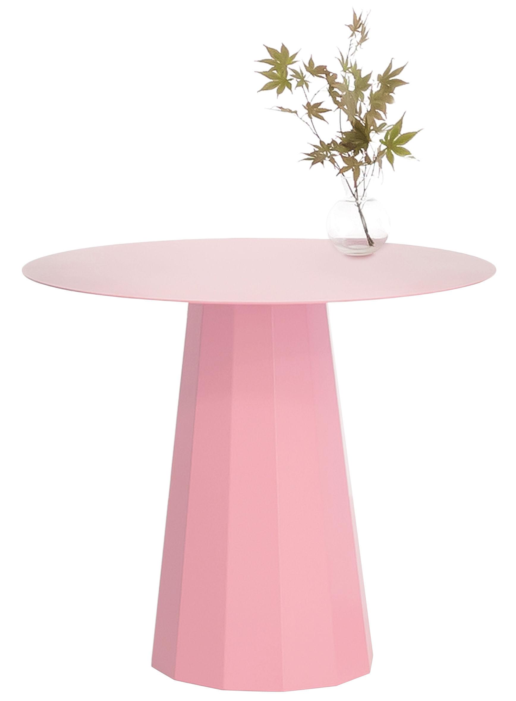 Arredamento - Tavolini  - Tavolino rotondo Ankara M - / Ø 70 x H 60 cm di Matière Grise - Rosa chiaro - Acciaio