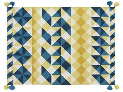 Kilim Mosaïek Teppich / 240 x 170 cm - Gan - Blau,Gelb
