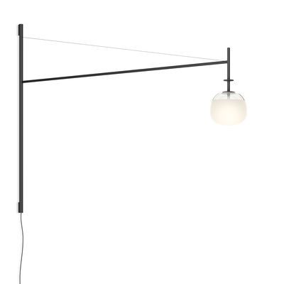 Lighting - Wall Lights - Tempo Globe Wall light with plug - / LED - Swivel arm L 116 cm by Vibia - Globe / Graphite grey - Blown glass, Lacquered aluminium, Lacquered steel