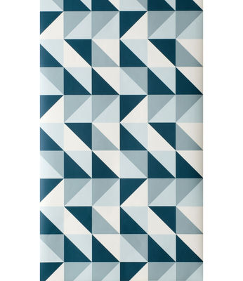 Decoration - Wallpaper & Wall Stickers - Remix Wallpaper - 1 panel by Ferm Living - Petrol blue & White - Non-woven fabric