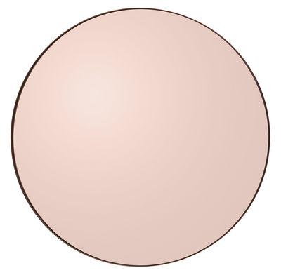 Dekoration - Spiegel - Circum Large Wandspiegel / Ø 110 cm - AYTM - Rauchglas, rosa - Glas, mitteldichte bemalte Holzfaserplatte