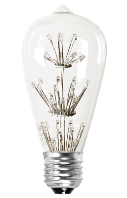 Ampoule LED filaments E27 / 1,3W (15W) - 100 lumen - Pop Corn transparent en verre
