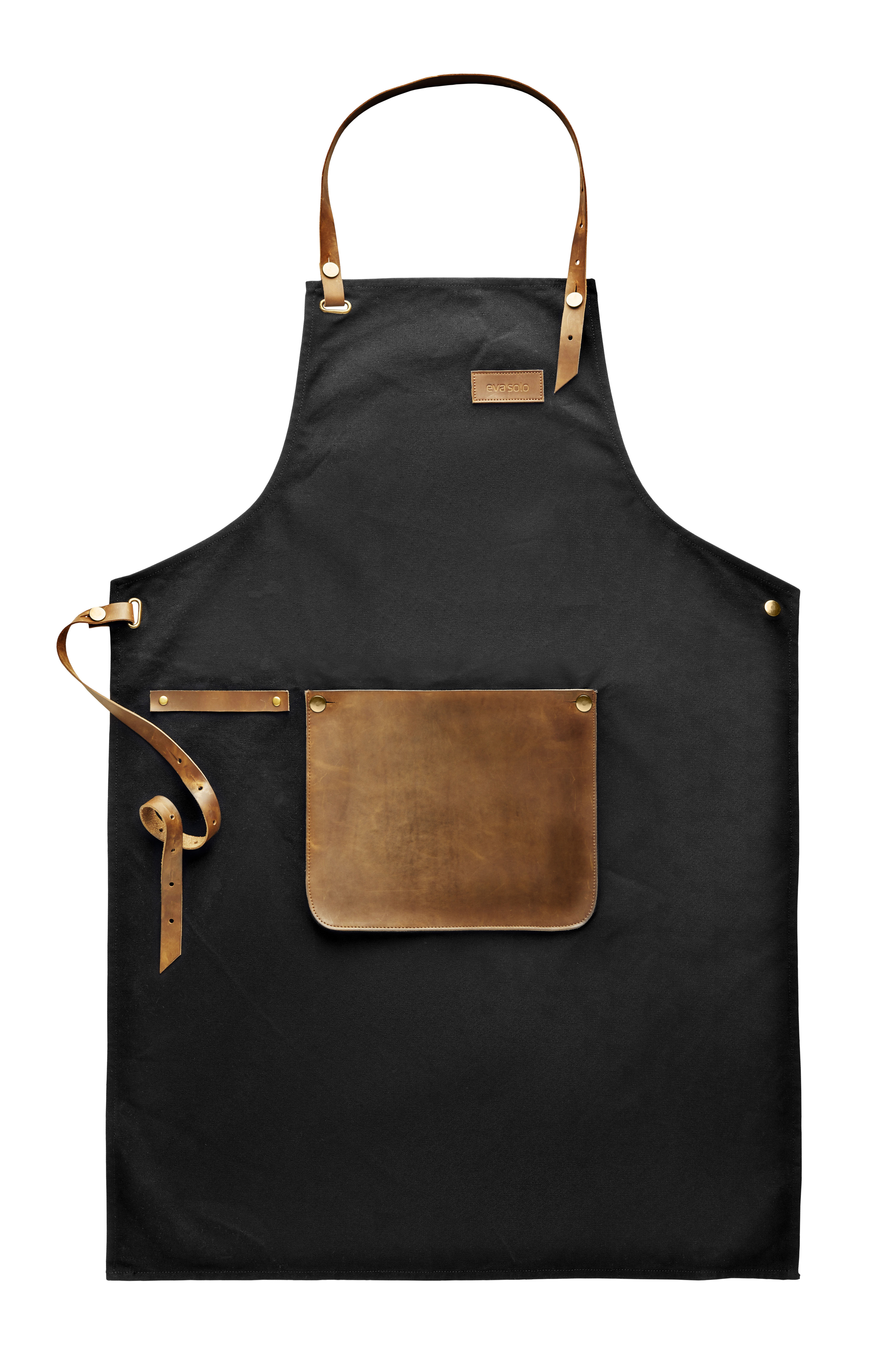 Kitchenware - Tea Towels & Aprons - Apron - / Leather and cloth by Eva Solo - Black / Brown leather - Cloth, Genuine leather