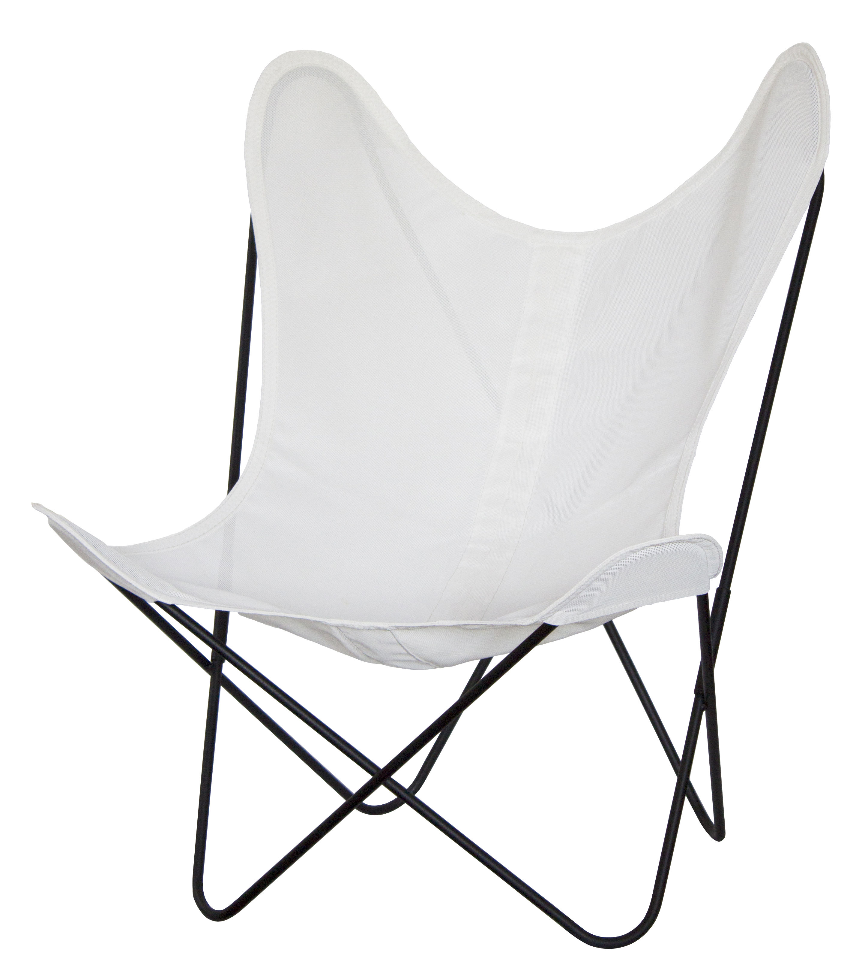 Outdoor - Chairs - AA Butterfly Armchair - Fabric - Black structure by AA-New Design - Black structure / Ivory fabric - Lacquered steel, Sunnyline canvas