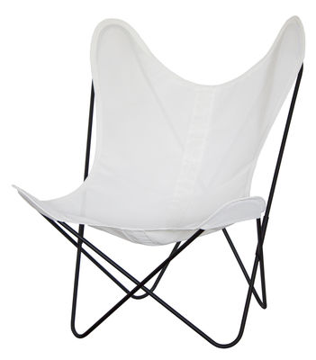 Outdoor - Garden chairs - AA Butterfly OUTDOOR Armchair - Fabric - Black structure by AA-New Design - Black structure / Ivory fabric - Batyline cloth, Lacquered steel