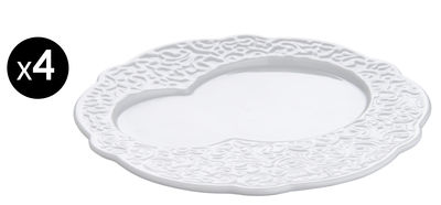 Arts de la table - Assiettes - Assiette Dressed / à déjeuner - Ø 16 cm - Lot de 4 - Alessi - Blanc - Porcelaine