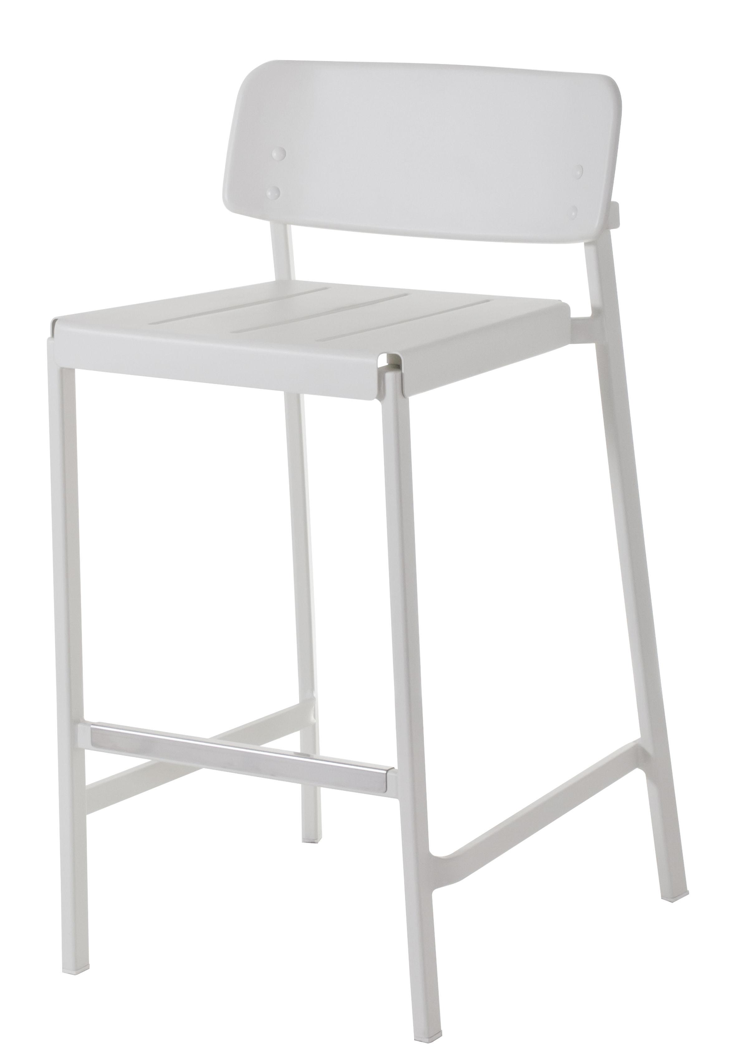Furniture - Bar Stools - Shine Bar chair - H 75 cm - Metal by Emu - White - Varnished aluminium