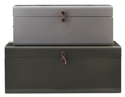 Interni - Per bambini - Baule Metal / Set da 2 - 60 x 36 cm - House Doctor - Grigio / Verde kaki - metallo laccato, Pelle