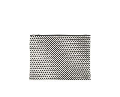 Accessori moda - Borse, Valigie e Portafogli - Borsa da trucco Paran - / 21 x 12 cm di House Doctor - Small / Nero & Bianco - Cotone rivestito