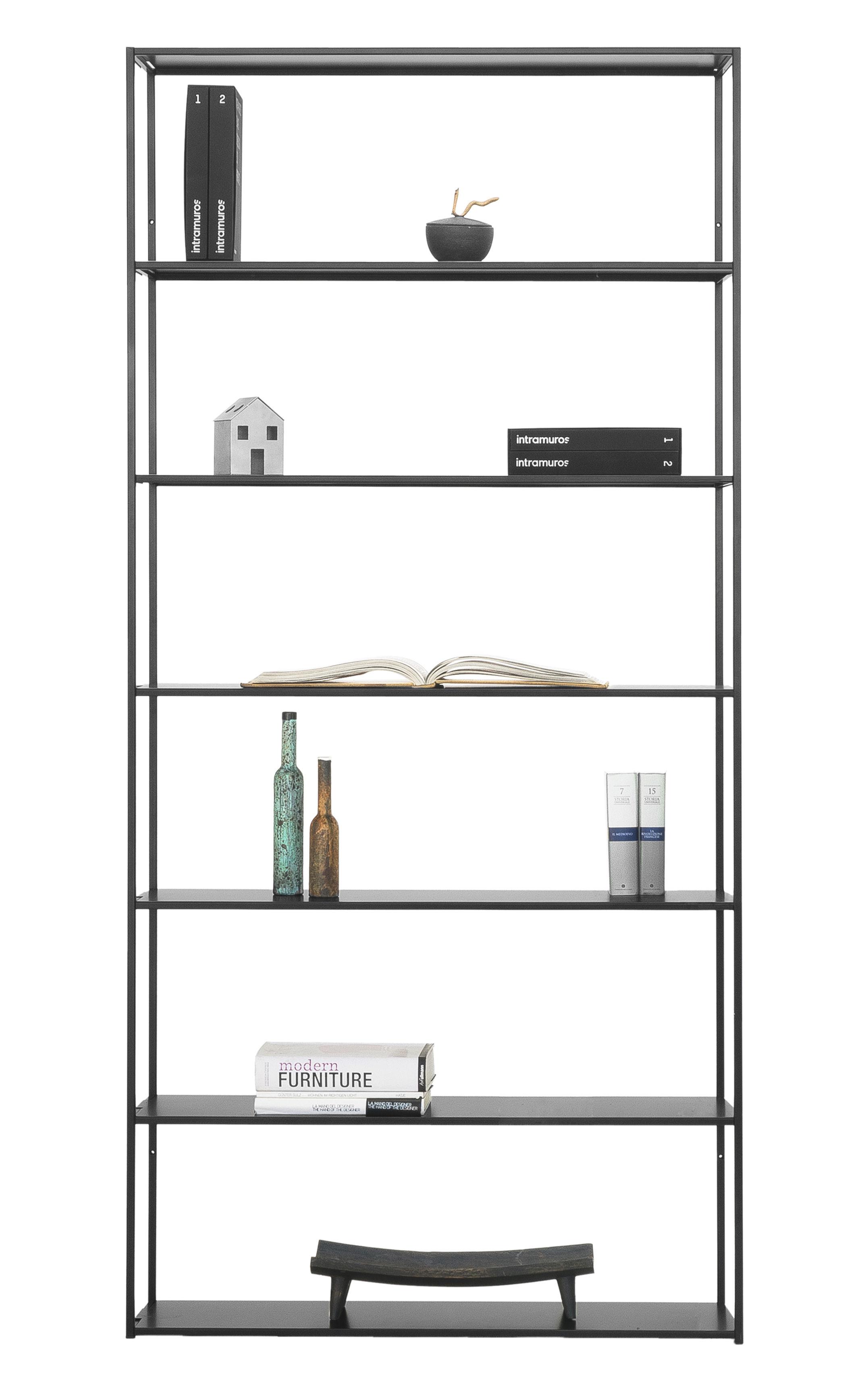 Möbel - Regale und Bücherregale - Easy Irony Bücherregal / L 104 cm x H 226 cm - Zeus - Schwarzbraun - bemalter Stahl