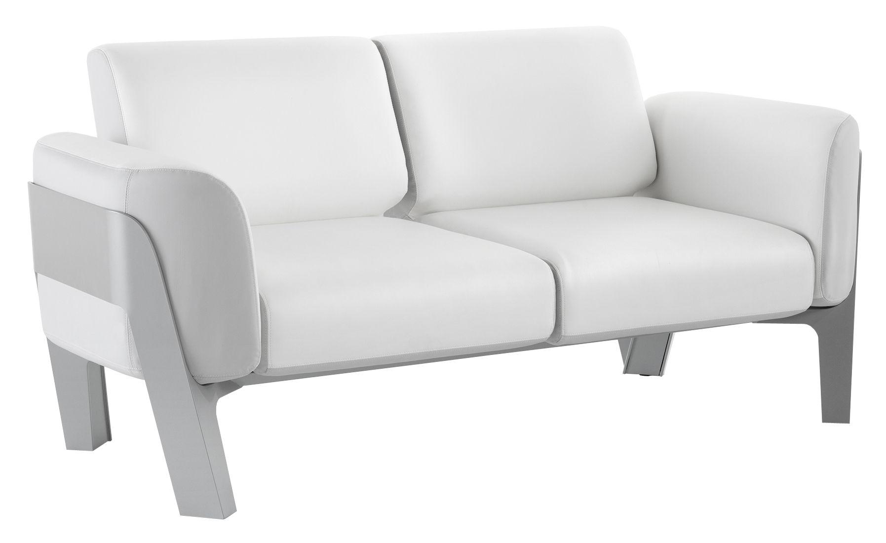 Mobilier - Canapés - Canapé droit Bienvenue / Vinyle / L 186 cm - 2 places - EGO Paris - Coussins blanc & gris Clair / Structure gris argent - Aluminium laqué, Mousse, Vinyle marin