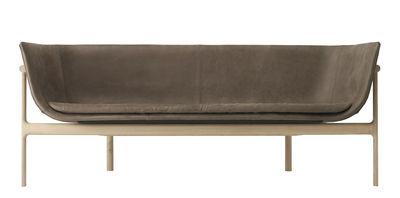 Canapé droit Tailor Cuir L 180 cm Menu marron,bois naturel en cuir