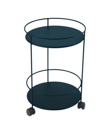 Arredamento - Tavolini  - Carrello Guinguette - / con ruote - Ø 40 x H 62 cm di Fermob - Blu Acapulco - Acciaio laccato
