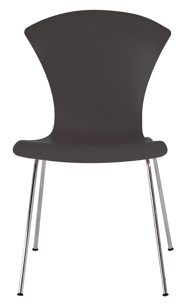 Mobilier - Chaises, fauteuils de salle à manger - Chaise empilable Nihau / Assise plastique & pieds métal - Kartell - Gris ardoise - Acier chromé, Polypropylène