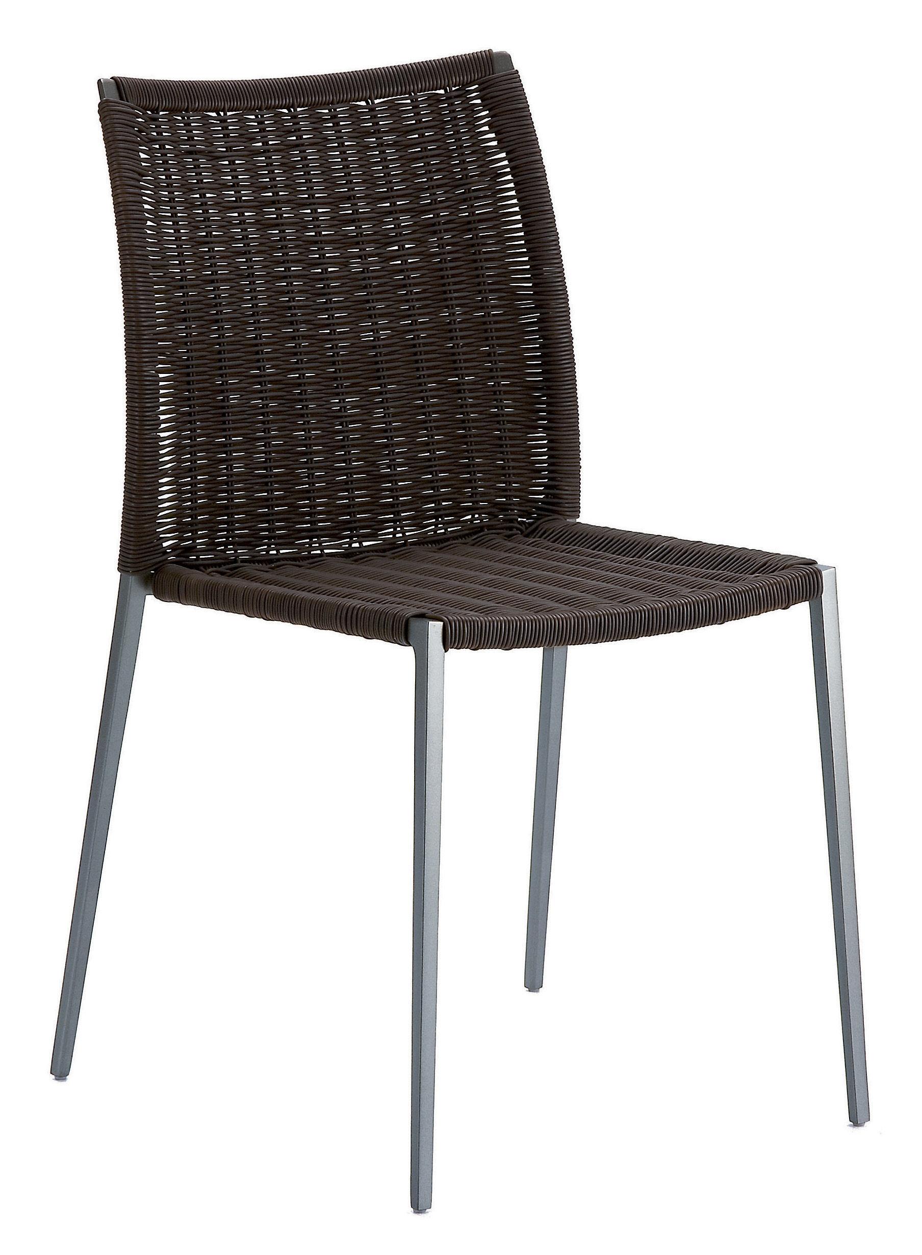 Mobilier - Chaises, fauteuils de salle à manger - Chaise empilable Talia / Tressage fils PVC - Zanotta - Marron / structure graphite - Aluminium verni, PVC