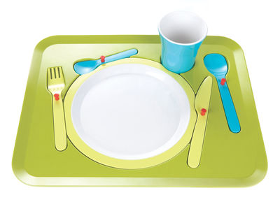 Decoration - Children's Home Accessories - Puzzle Dinner service - For children by Royal VKB - Green & blue - Melamine