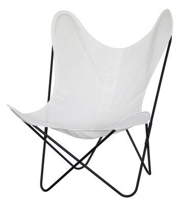 Outdoor - Chaises et fauteuils hauts - Fauteuil AA Butterfly / Toile Sunnyline - Structure noire - AA-New Design - Toile ivoire / Métal noir - Acier laqué, Toile Sunnyline
