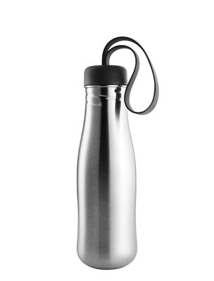 Tableware - Water Carafes & Wine Decanters - Urbaine Flask - / 0.7 L - Stainless steel by Eva Solo - Stainless steel / Black - Silicone, Stainless steel