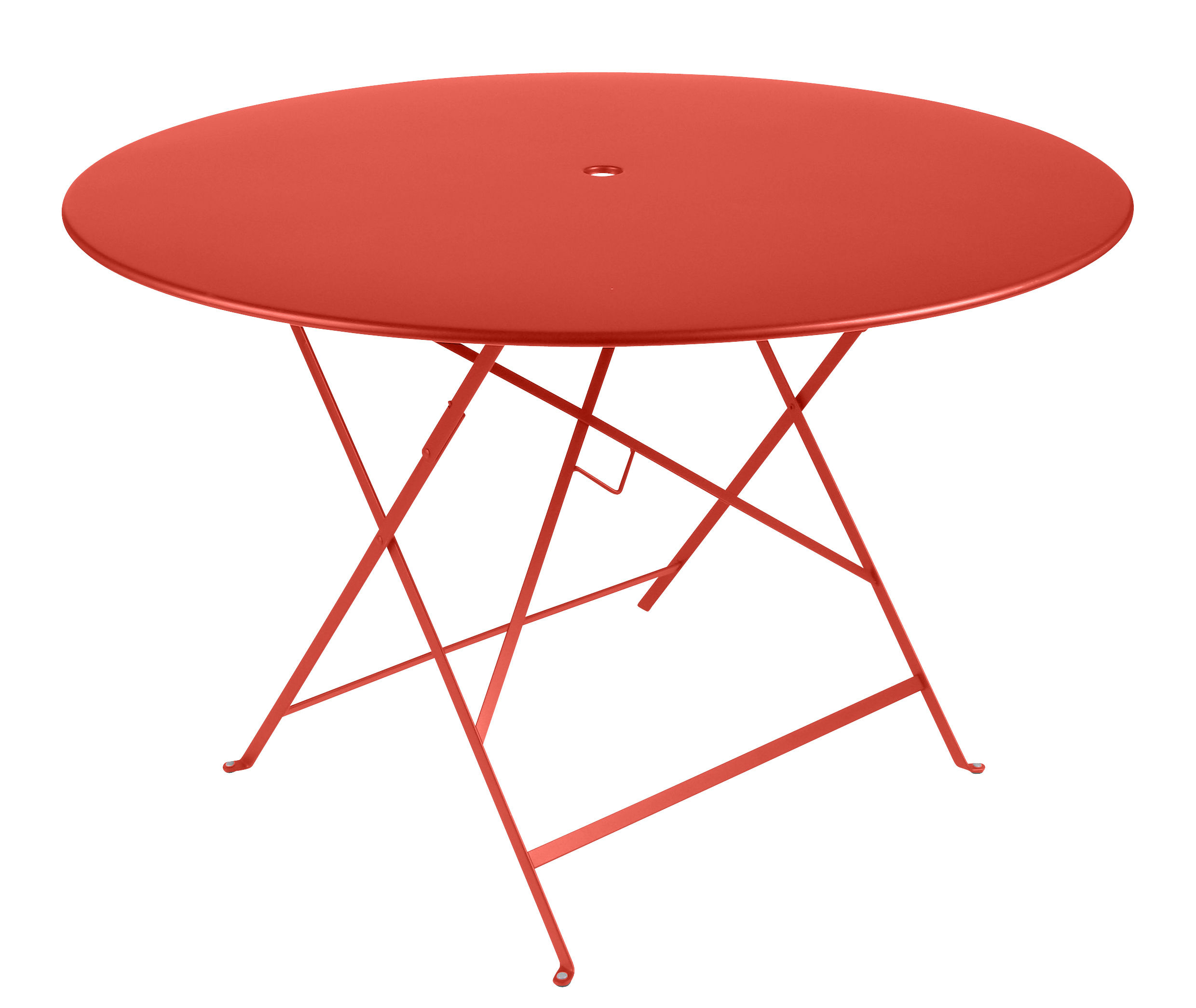 Outdoor - Garden Tables - Bistro Foldable table - Ø 117 cm - 6/8 people - Umbrella Hole by Fermob - Nasturtium - Painted steel