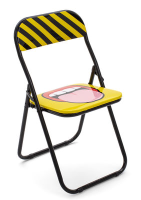 Furniture - Chairs - Tongue Folding chair - / padded by Seletti - Tongue - Foam, Lacquered metal, PVC