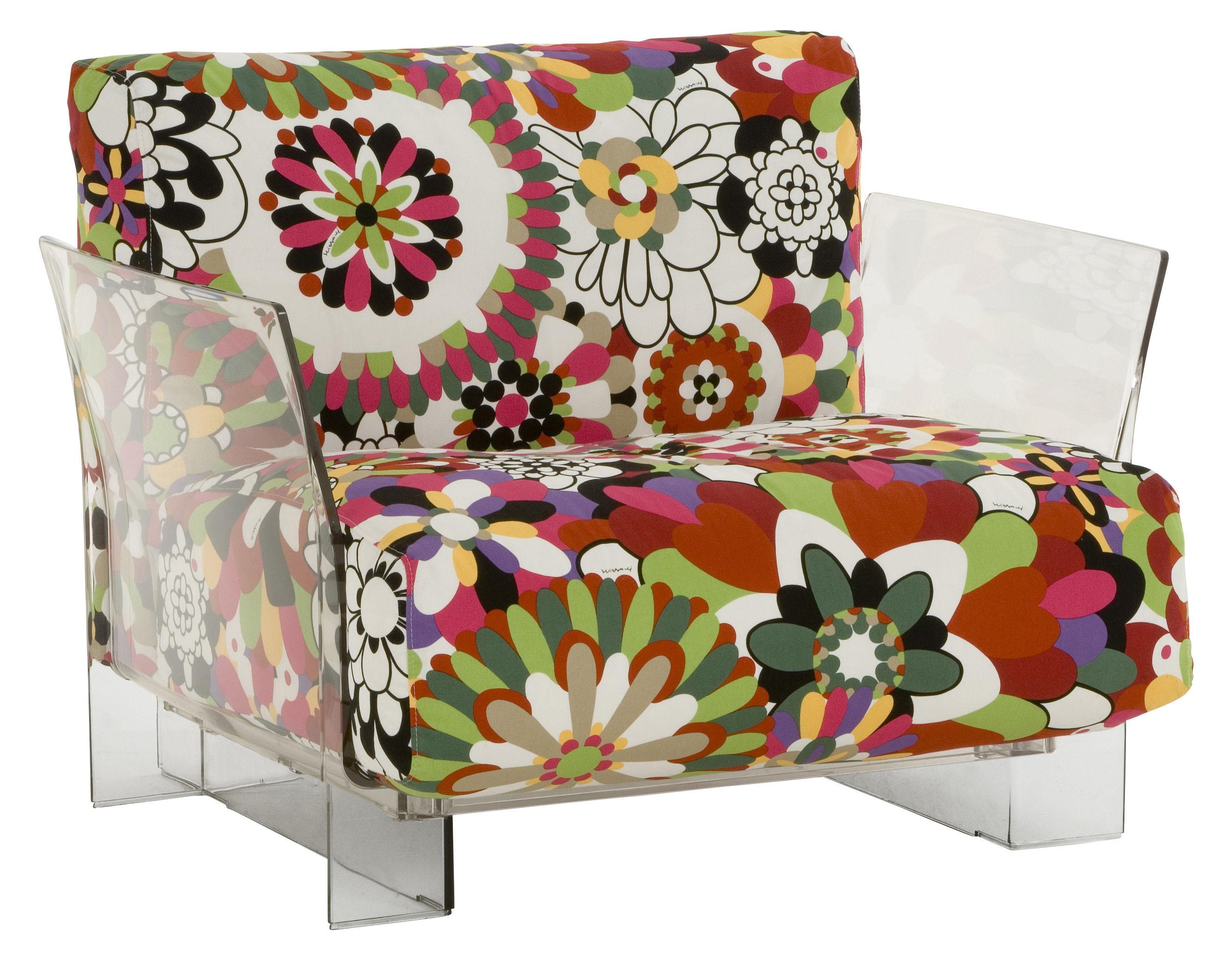 Möbel - Lounge Sessel - Pop Missoni Gepolsterter Sessel - Kartell - Blumen in Rottönen - Baumwolle, Polykarbonat