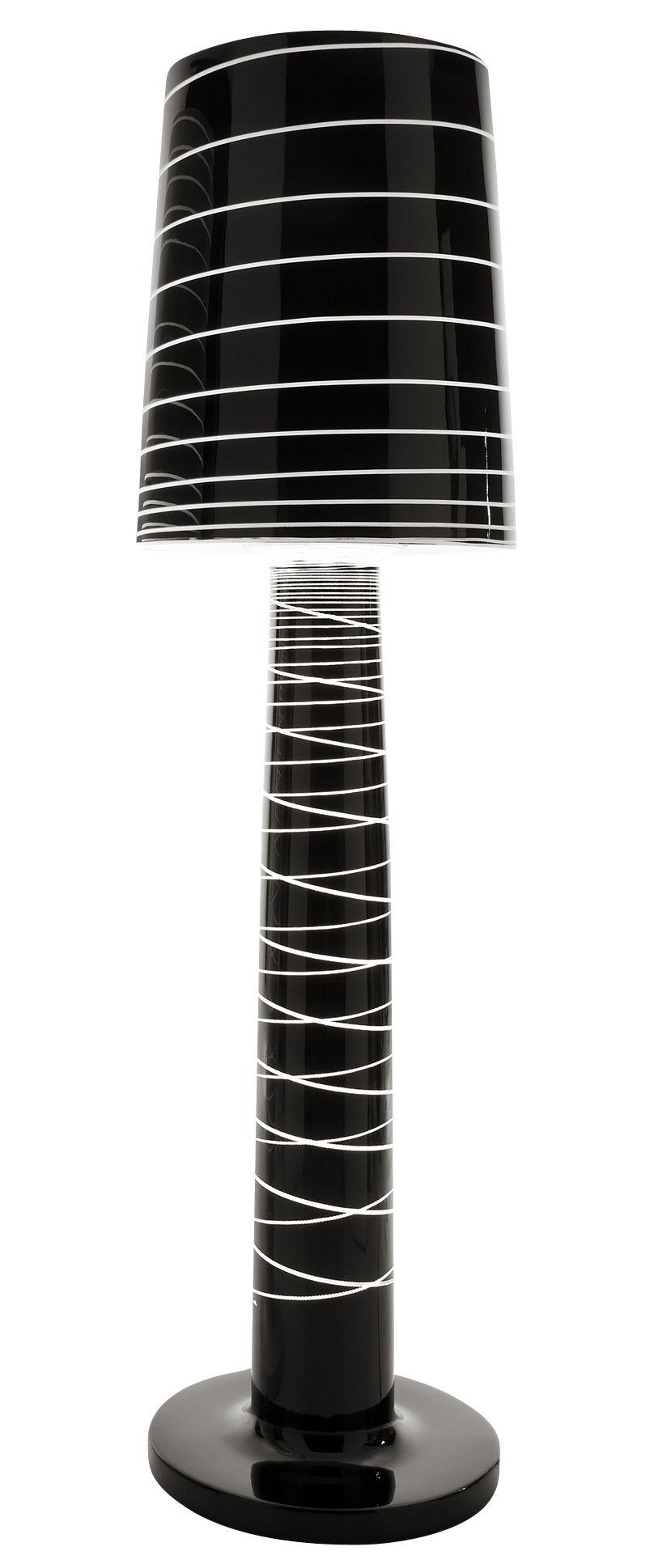 Illuminazione - Lampade da terra - Lampada a stelo Miss Jane di Serralunga - Nero laccato a righe - Polietilene