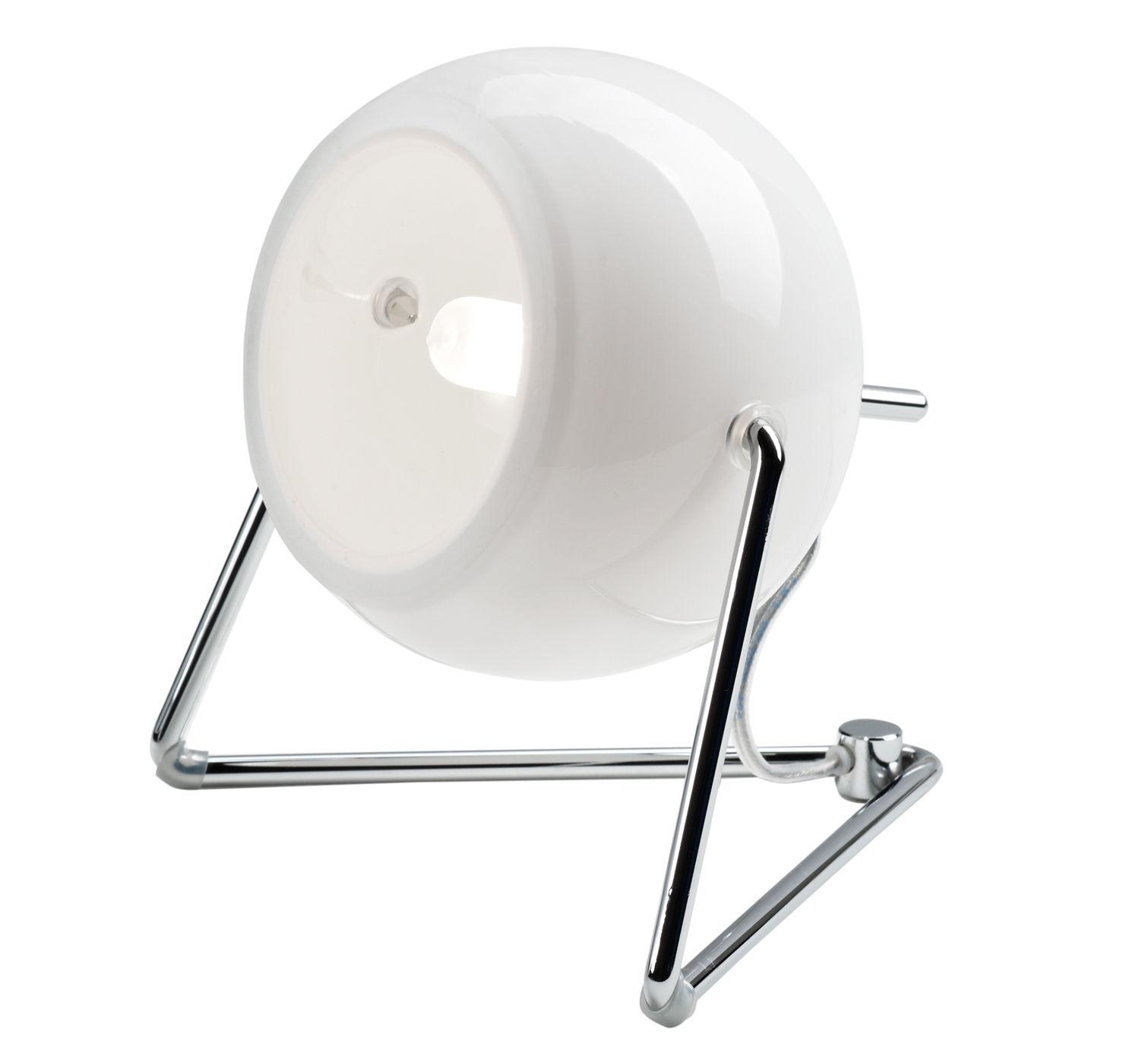 Illuminazione - Lampade da tavolo - Lampada da tavolo Beluga Verre blanc di Fabbian - Bianco - Metallo cromato, Vetro