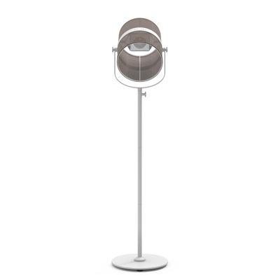 Luminaire - Lampadaires - Lampadaire solaire La Lampe Paris LED / Hybride & connectée - Maiori - Taupe / Pied blanc - Aluminium peint, Tissu