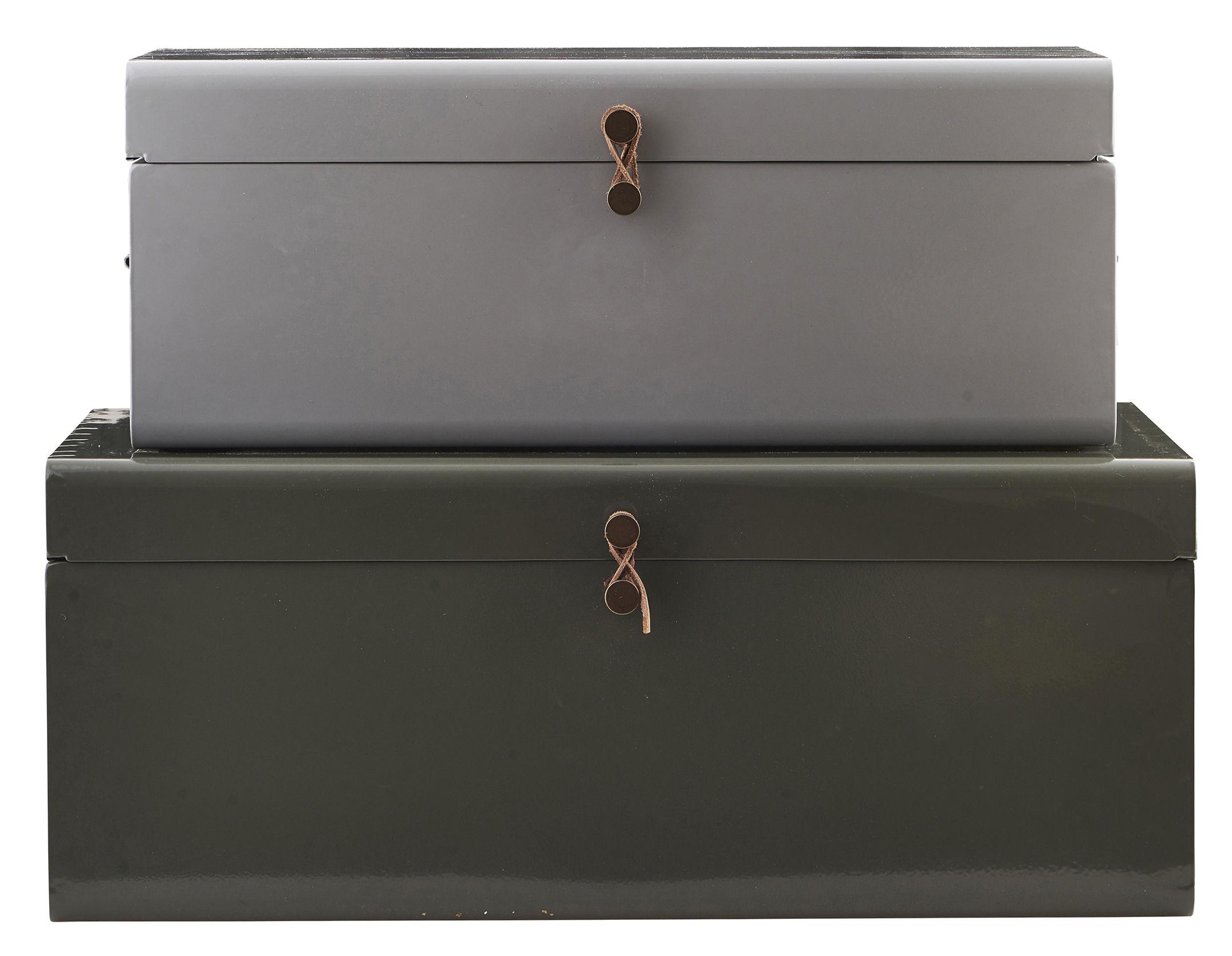 Déco - Pour les enfants - Malle Metal / Set de 2 - 60 x 36 cm - House Doctor - Gris / Vert kaki - Cuir, Métal laqué