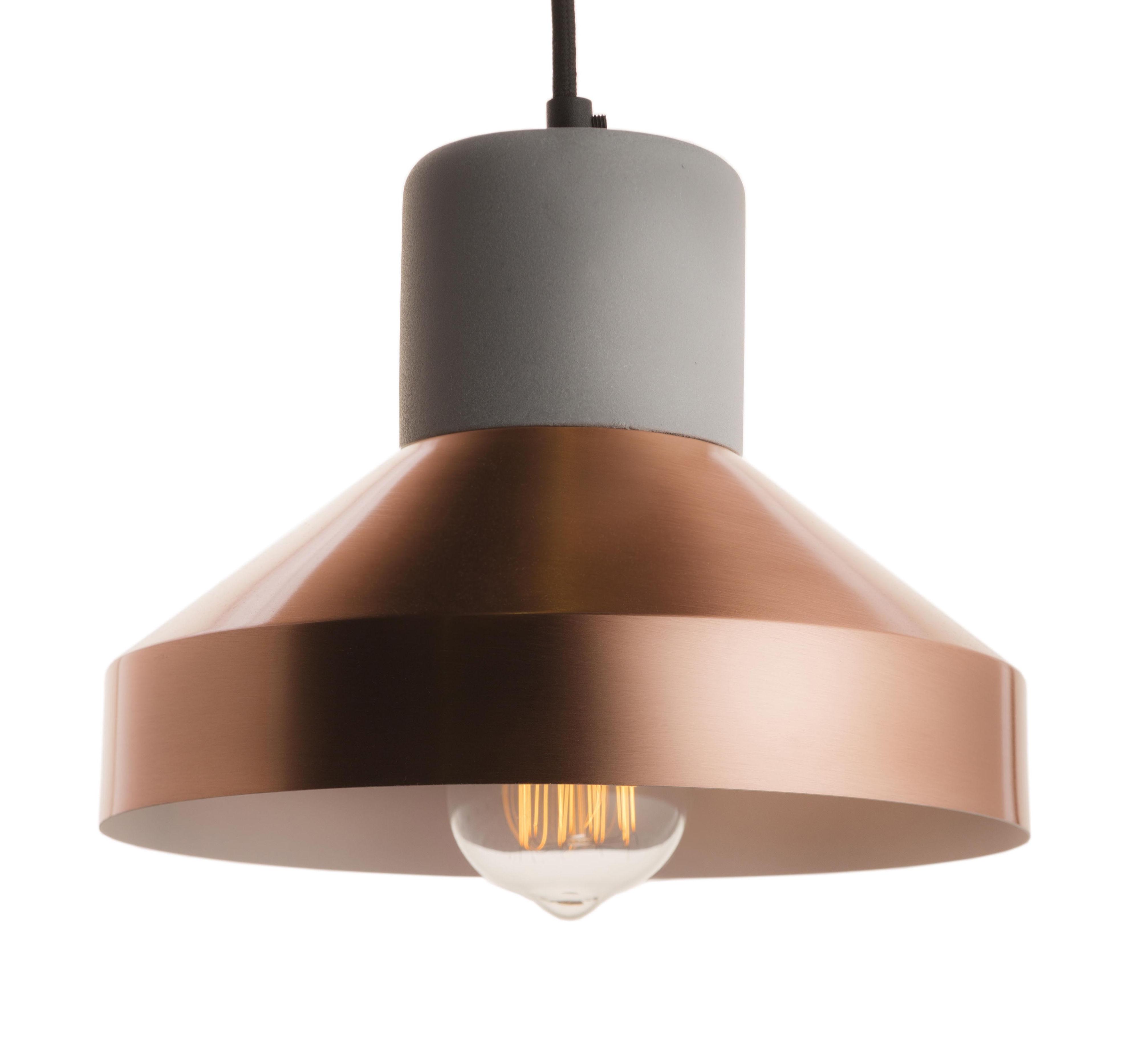 Lighting - Pendant Lighting - Steel Wood L Pendant - Concrete & Matt metal - Ø 24 cm by Spécimen Editions - Concrete / Diffuser matt copper - Concrete, Metal with matt copper finish