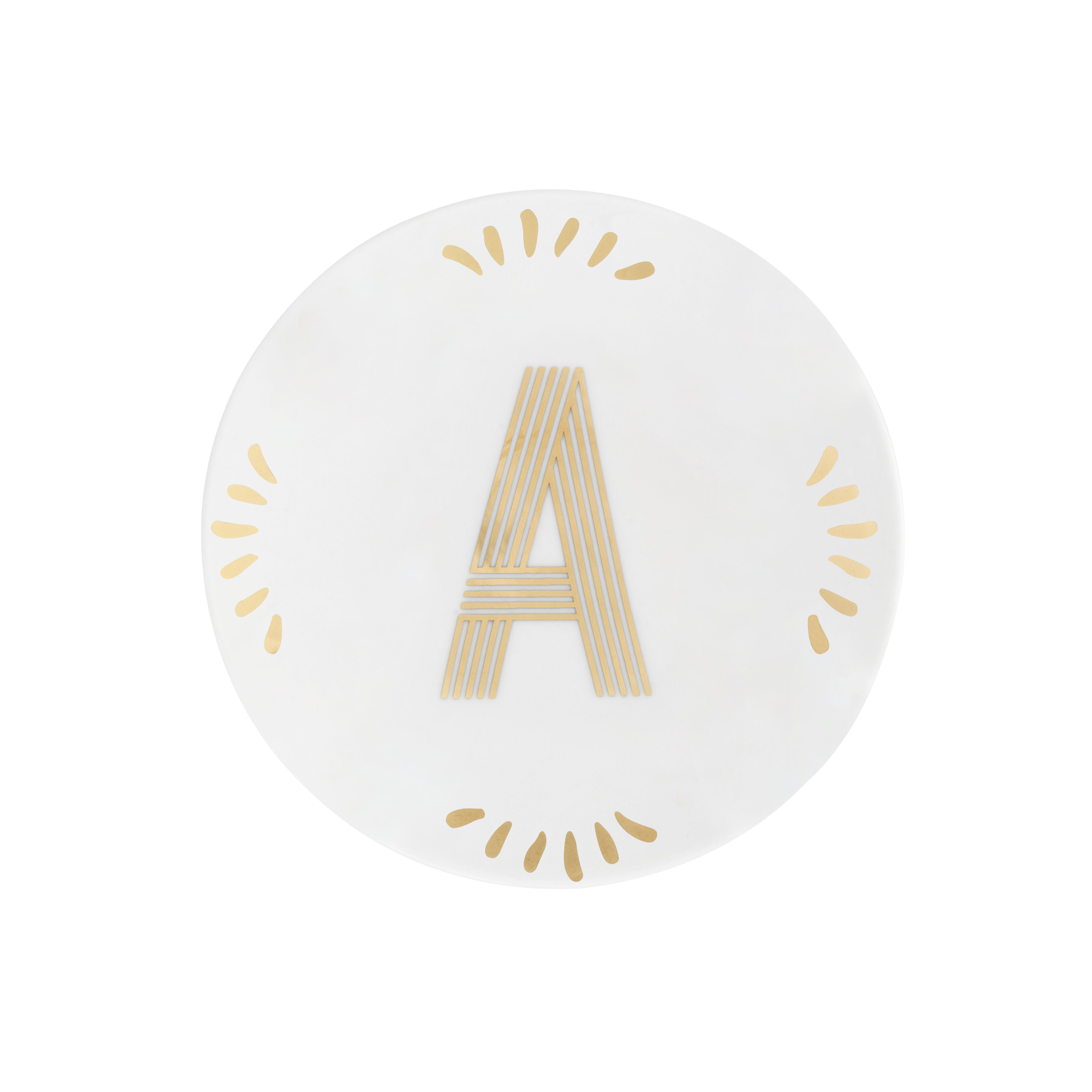Tableware - Plates - Lettering Petit fours plates - / Ø 12 cm - Letter A by Bitossi Home - Letter A / Gold - China