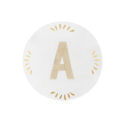 Tavola - Piatti  - Piatto per dolcetti Lettering - / Ø 12 cm - Lettera A di Bitossi Home - Lettera A / Or - Porcellana