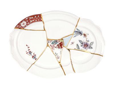 Plateau Kintsugi / Porcelaine & or fin - Seletti blanc,multicolore,or en céramique