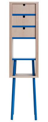 Mobilier - Etagères & bibliothèques - Rangement Obi / Grand modèle - H 120 cm - 3 tiroirs - Valsecchi 1918 - Naturel / Bleu - Bois