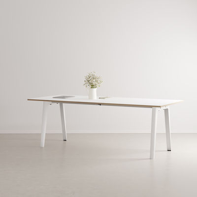 Furniture - Dining Tables - New Modern Rectangular table - / 220 x 95 cm - Laminate / 10 to 12 people by TIPTOE - Cloud White - Powder coated steel, Stratified