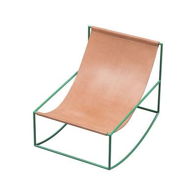 Mobilier - Fauteuils - Rocking chair / Cuir - valerie objects - Cuir naturel / Structure verte - Acier, Cuir