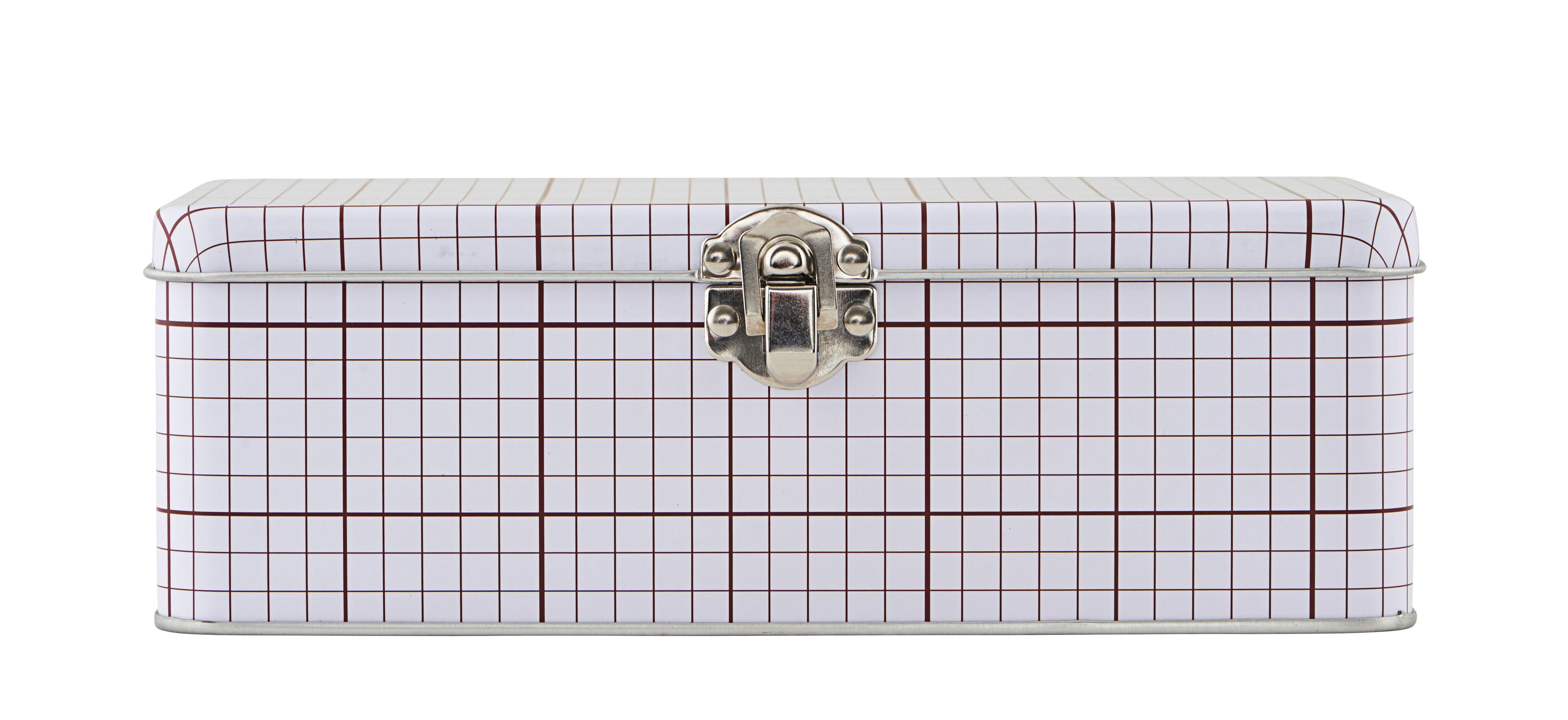 Accessori moda - Pratici e intelligenti - Scatola Lunch box / Graph 02 - House Doctor - Linee bordò - Fer blanc