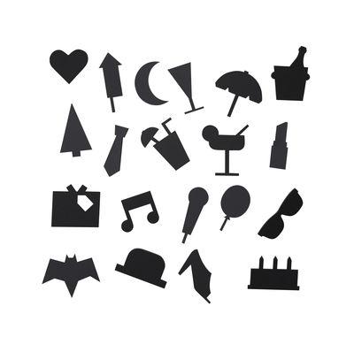 Set Symboles Party / pour tableau perforé - Design Letters noir en matière plastique