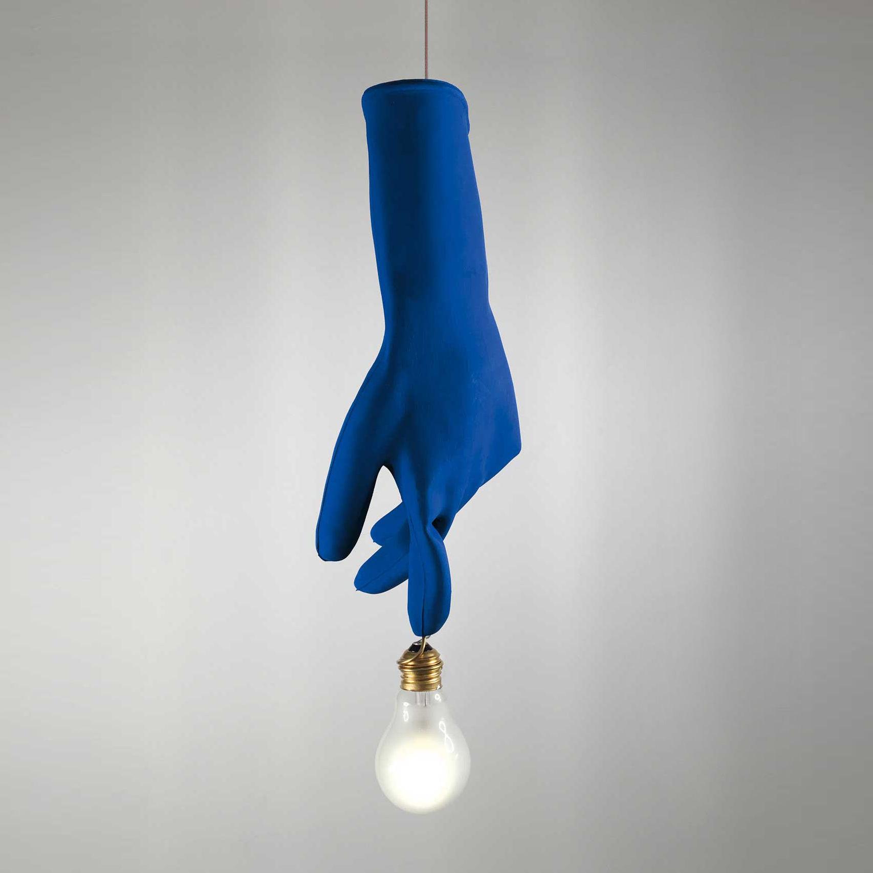 Illuminazione - Lampadari - Sospensione Luzy Blue - / LED - 1 lampadina di Ingo Maurer - Blu - Acciaio, Ottone, Plastique haute résistance, Vetro