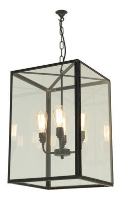 Illuminazione - Lampadari - Sospensione Square XL - / H 59,5 cm - Per l'esterno di Original BTC - nero & trasparente - Laiton vielli, Vetro
