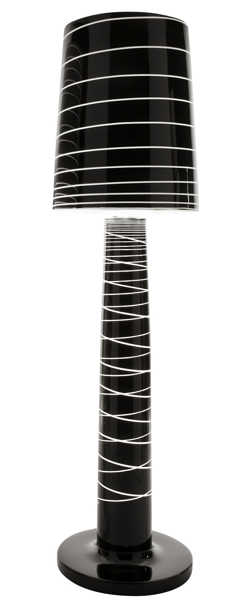 Leuchten - Stehleuchten - Miss Jane Stehleuchte - Serralunga - Schwarz lackiert mit Streifen - Polyäthylen