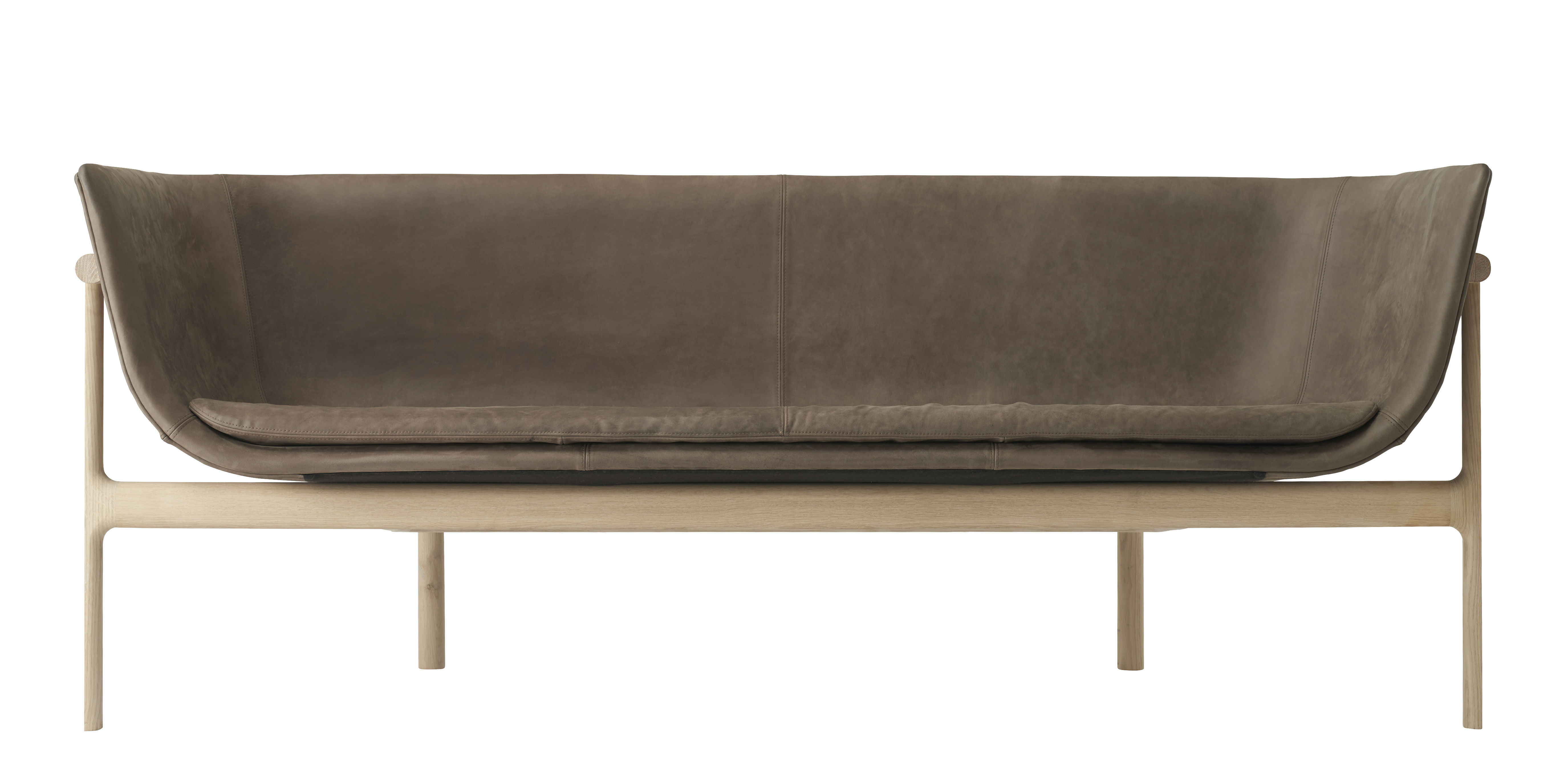 Furniture - Sofas - Tailor Straight sofa - Leather / L 180 cm by Menu - Brown leather/ Wood - Foam, Leather, Solid oak