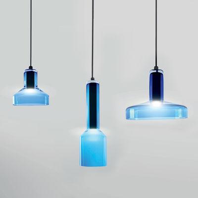 Suspension Stab Light Triple / Set 3 suspensions - Verre artisanal - Danese Light aquamarine en verre